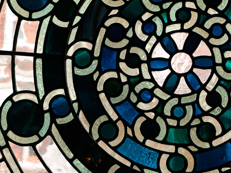 A close up of a beautiful stained glass window at Cadogan Hall