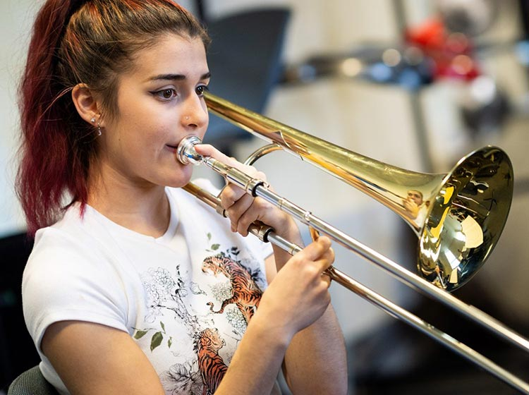 Trombone player from the Purcell School for Young Musicians