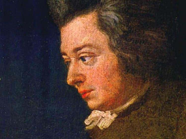 Mozart - an unfinished portrait of Mozart from 1782 by Joseph Lange